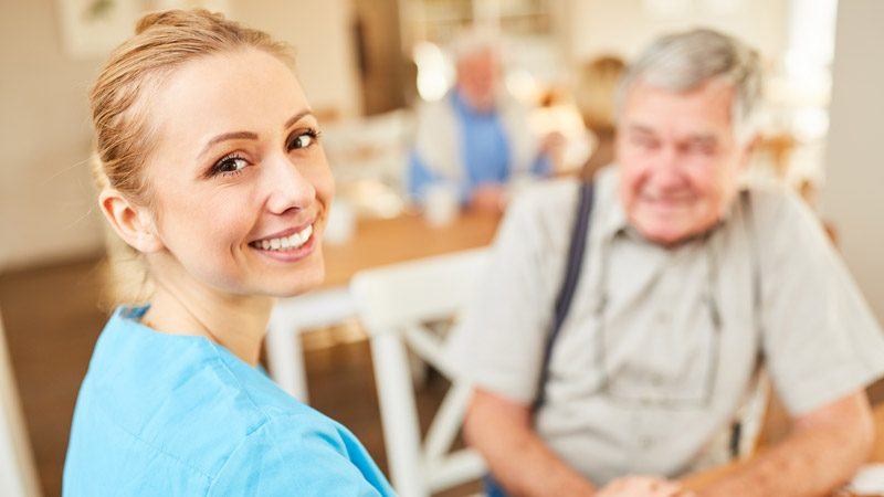 Happy Senior with Professional Home Care
